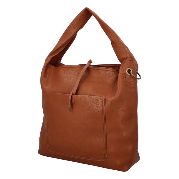 Elegantní dámská kabelka Carmen do ruky i přes rameno, hnědá