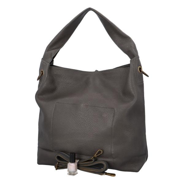 Elegantní dámská kabelka Carmen do ruky i přes rameno, šedá