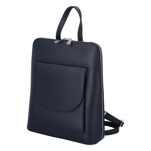 Elegantní kožený batoh Janette, modrá