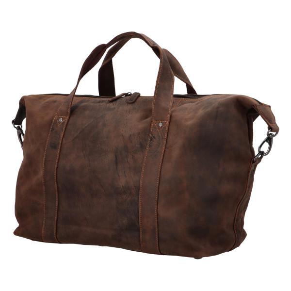 Luxusní cestovní kožená taška Greenwood travel , tmavě hnědá