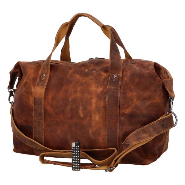Luxusní cestovní kožená taška Greenwood travel Joel, hnědá