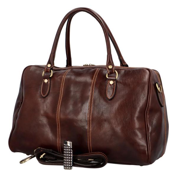 Luxusní cestovní kožená taška Travel John, tmavě hnědá