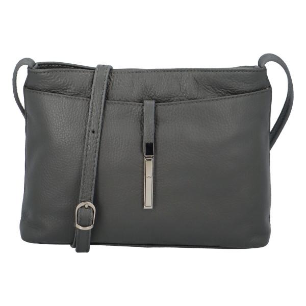 Elegantní kožená dámská kabelka Leila přes rameno, šedá