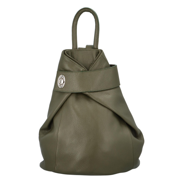 Neobyčejný kožený batůžek Silvester, zelený