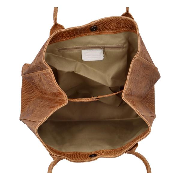Stylová kožená kabelka Marianna do ruky, cuoio
