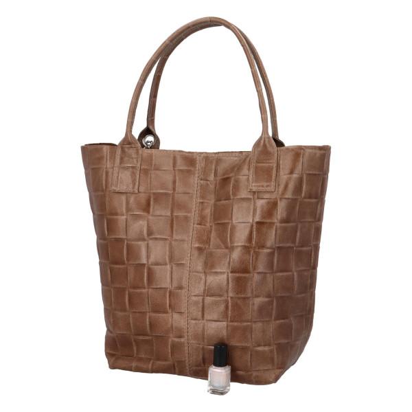 Prostorná dámská kožená kabelka Nancy, taupe