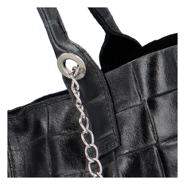 Prostorná dámská kožená kabelka Nancy, černá