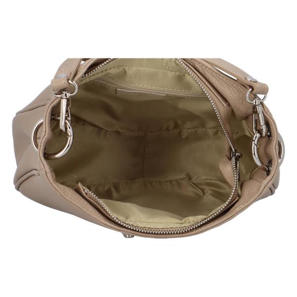Dámská kožená kabelka Valerie přes rameno i do ruky, taupe