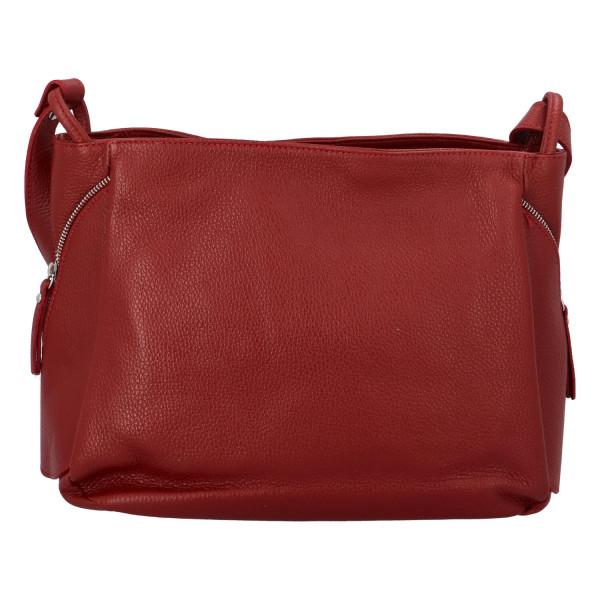 Praktická kožená dámská kabelka Marcella, červená