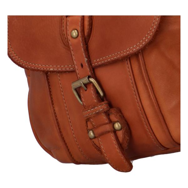 Luxusní dámská kožená crossbody kabelka Zlata