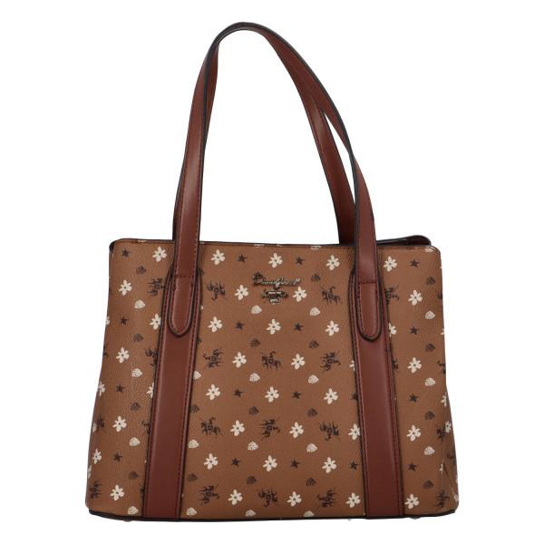 Trendy koženková kabelka přes rameno Judy, koňakově hnědá