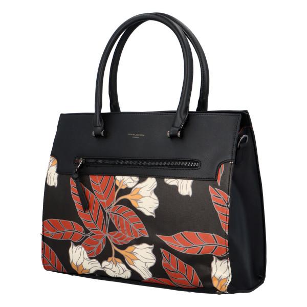 Stylová koženková kabelka Flower, černá