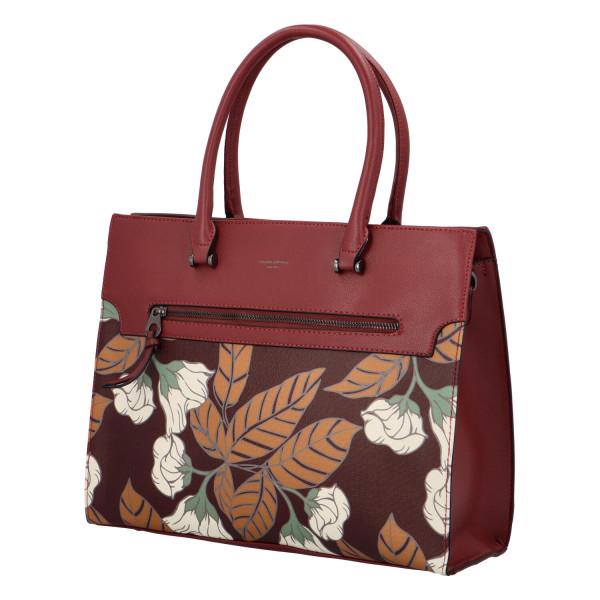 Stylová koženková kabelka Flower, vínová
