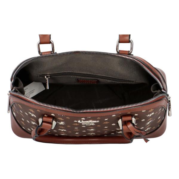 Stylová kufříková kabelka Saskie, hnědá