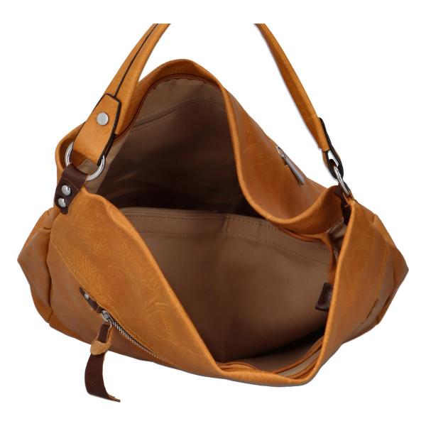 Prostorná koženková kabelka Ester, žlutá