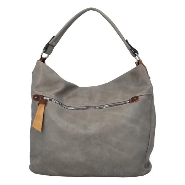 Prostorná koženková kabelka Ester, šedá