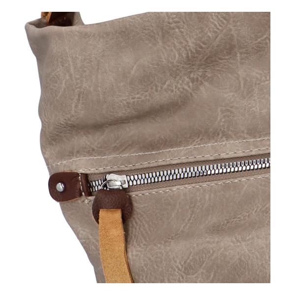 Prostorná koženková kabelka Ester, soil