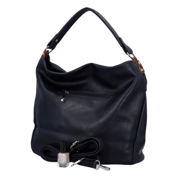 Prostorná koženková kabelka Ester, tmavě modrá