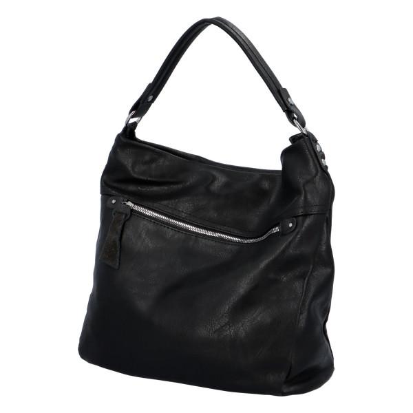 Prostorná koženková kabelka Ester, černá