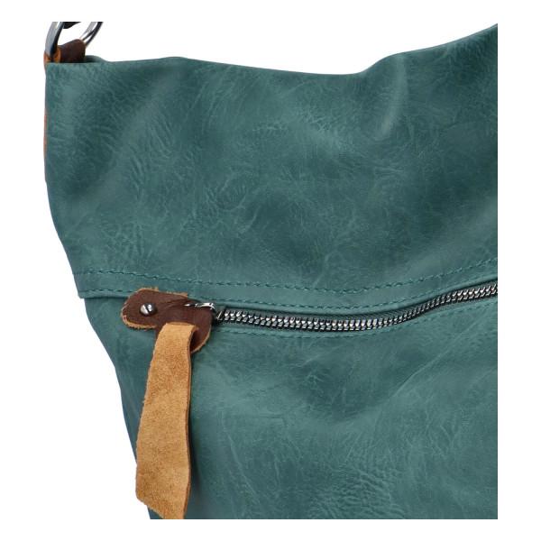 Prostorná koženková kabelka Ester, zelená