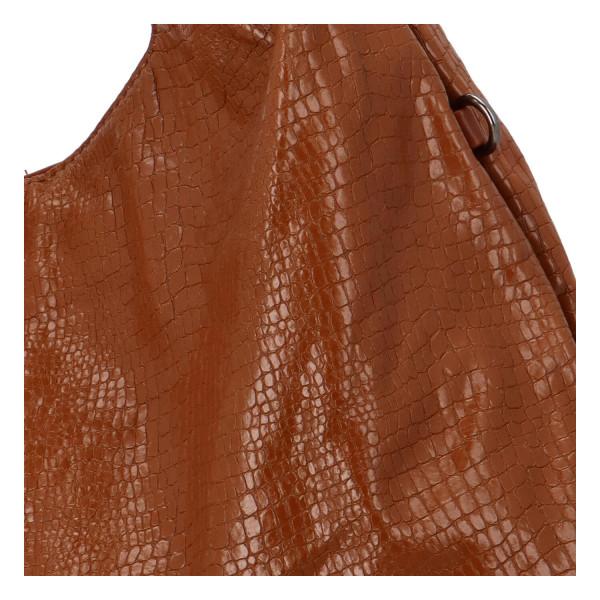 Trendy dámská kabelka Sáva s hadím vzorem, hnědá