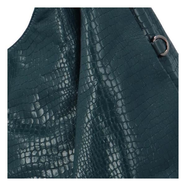 Trendy dámská kabelka Sáva s hadím vzorem, zelená