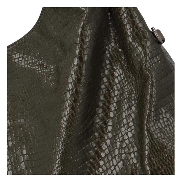 Trendy dámská kabelka Sáva s hadím vzorem, tmavě zelená