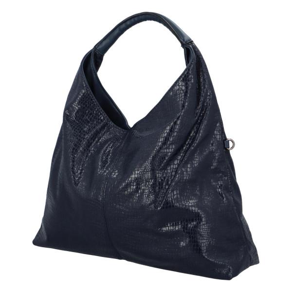 Trendy dámská kabelka Sáva s hadím vzorem, tmavě modrá