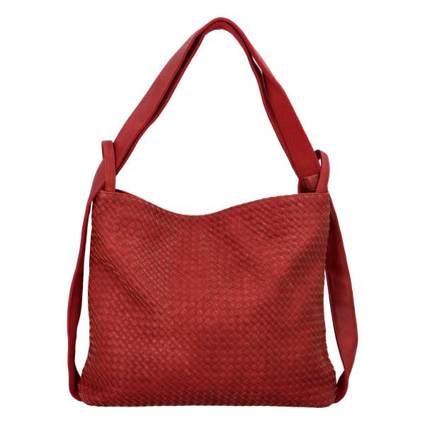 Módní proplétaný kabelko-batoh Giny, červený