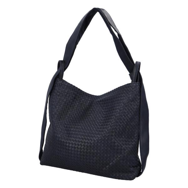 Módní proplétaný kabelko-batoh Giny, tmavě modrý