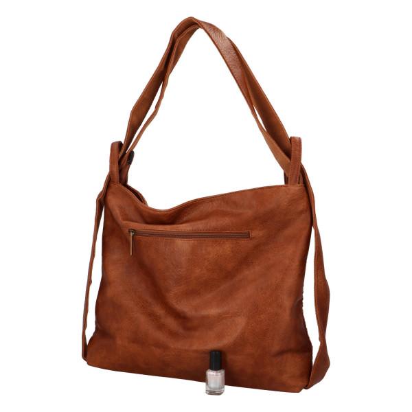 Módní proplétaný kabelko-batoh Giny, hnědý