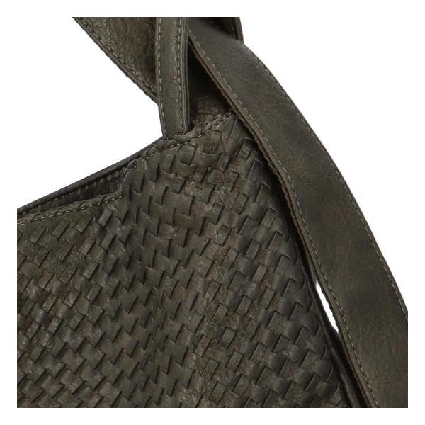 Módní proplétaný kabelko-batoh Giny, tmavě zelený