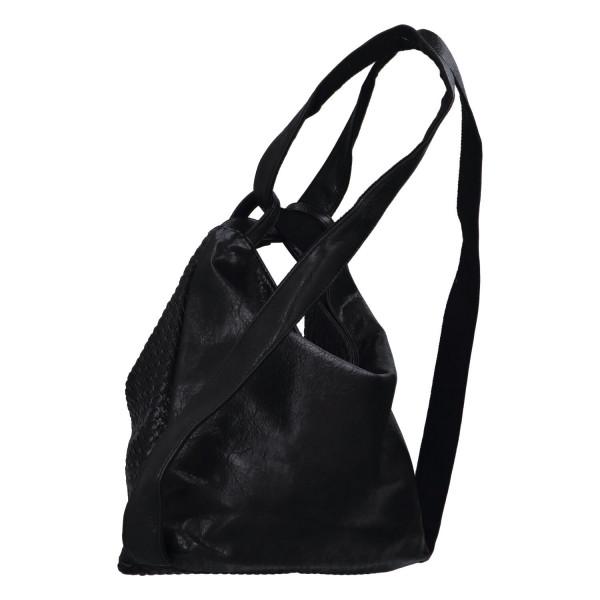 Módní proplétaný kabelko-batoh Giny, černý