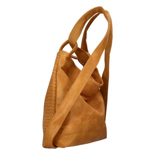 Módní proplétaný kabelko-batoh Giny, žlutý