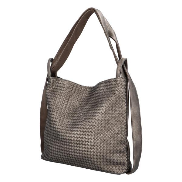 Módní proplétaný kabelko-batoh Giny, stříbrný