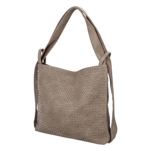 Módní proplétaný kabelko-batoh Giny, šedý