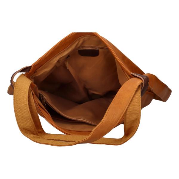 Stylový kožený kabelko batoh Tibor, žlutý