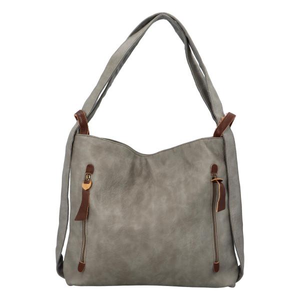 Stylový kožený kabelko batoh Tibor, šedý