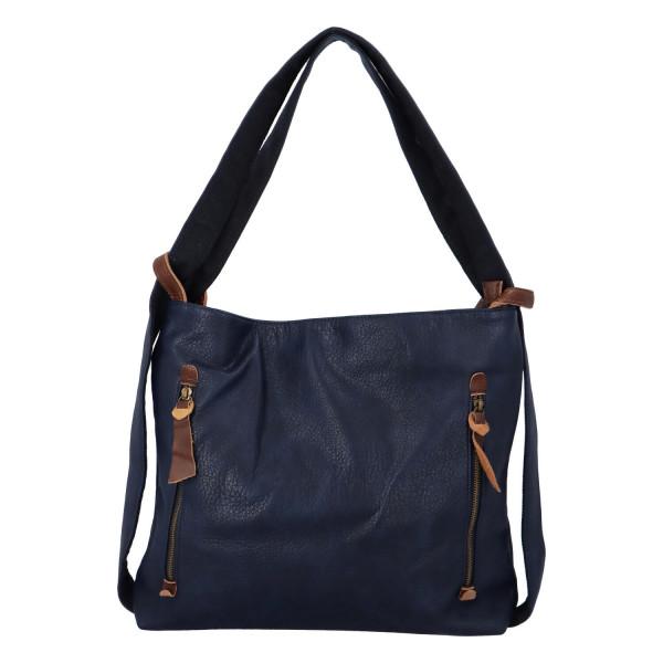 Stylový kožený kabelko batoh Tibor, tmavě modrý