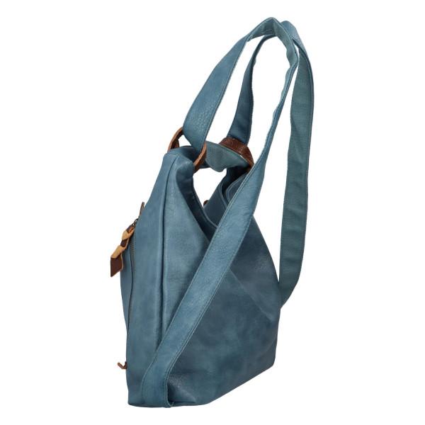 Stylový kožený kabelko batoh Tibor, světle modrý