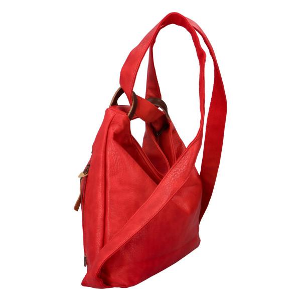 Stylový kožený kabelko batoh Tibor, červený