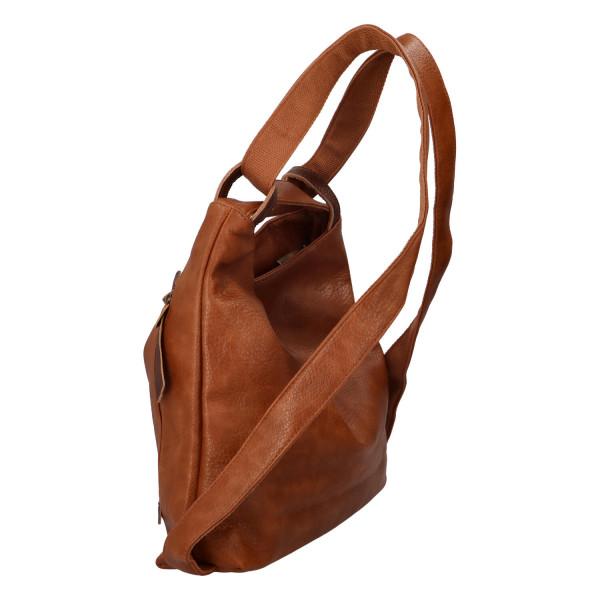 Stylový kožený kabelko batoh Tibor, tmavě hnědý