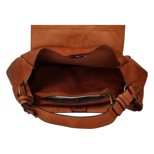Módní koženková kabelka s klopou Nikola, hnědá