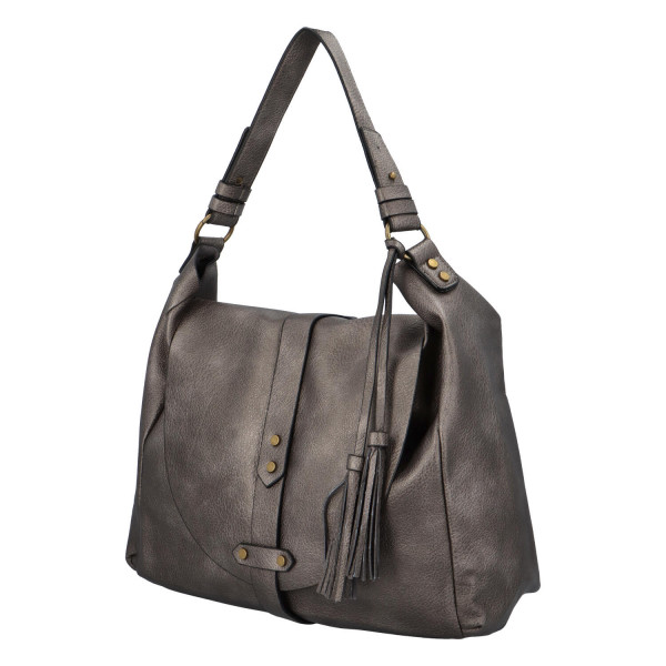 Módní koženková kabelka s klopou Nikola, stříbrná