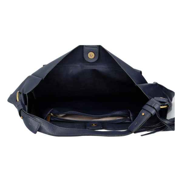 Módní koženková kabelka s klopou Nikola, modrá