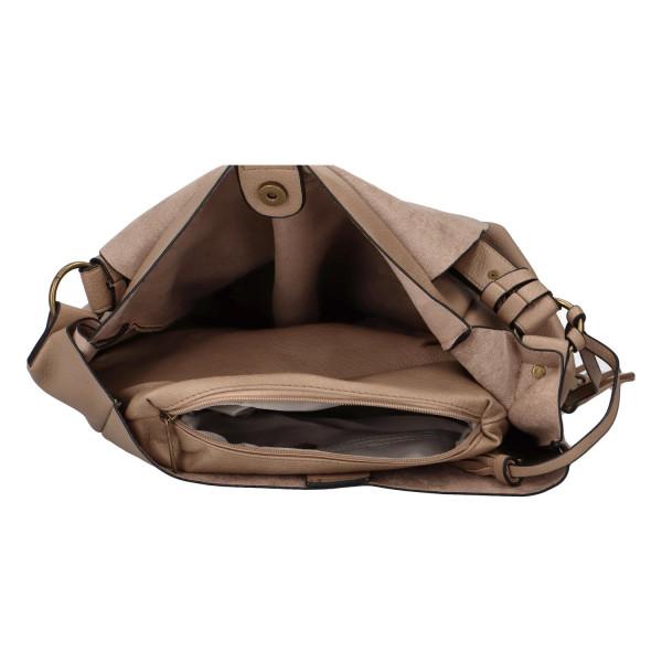 Módní koženková kabelka s klopou Nikola, světle hnědá
