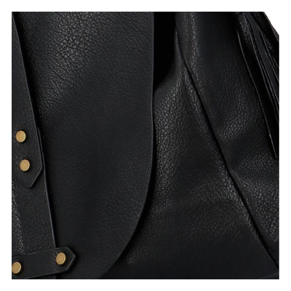 Módní koženková kabelka s klopou Nikola, černá