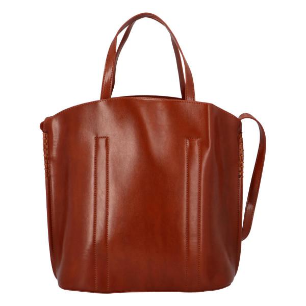 Prostorná pevná kabelka Lux, hnědá
