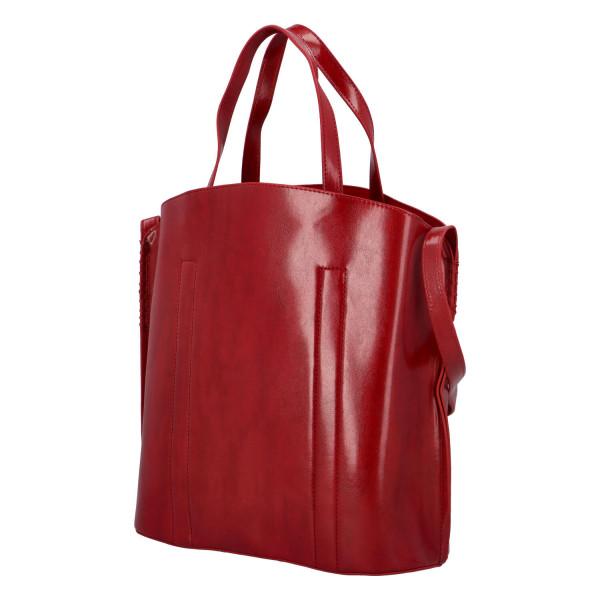 Prostorná pevná kabelka Lux, červená
