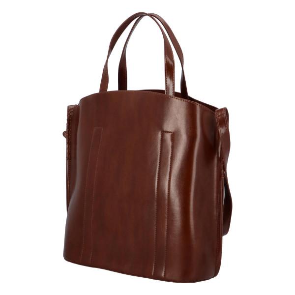Prostorná pevná kabelka Lux, tmavě hnědá